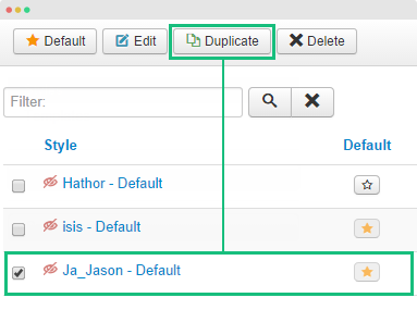 duplicate template style