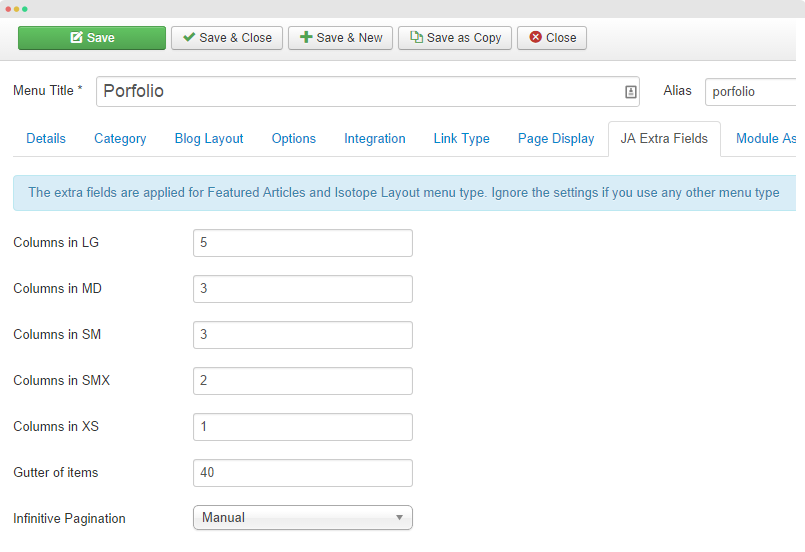 Portfolio extra fields setting
