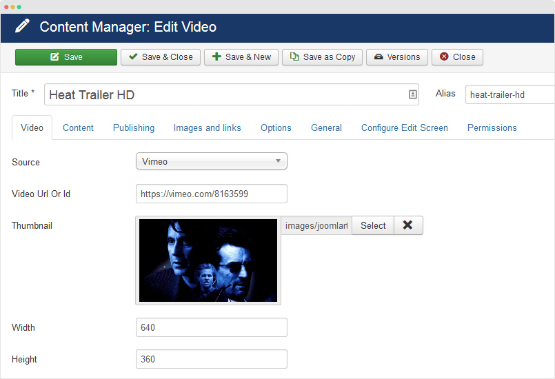 video detail page