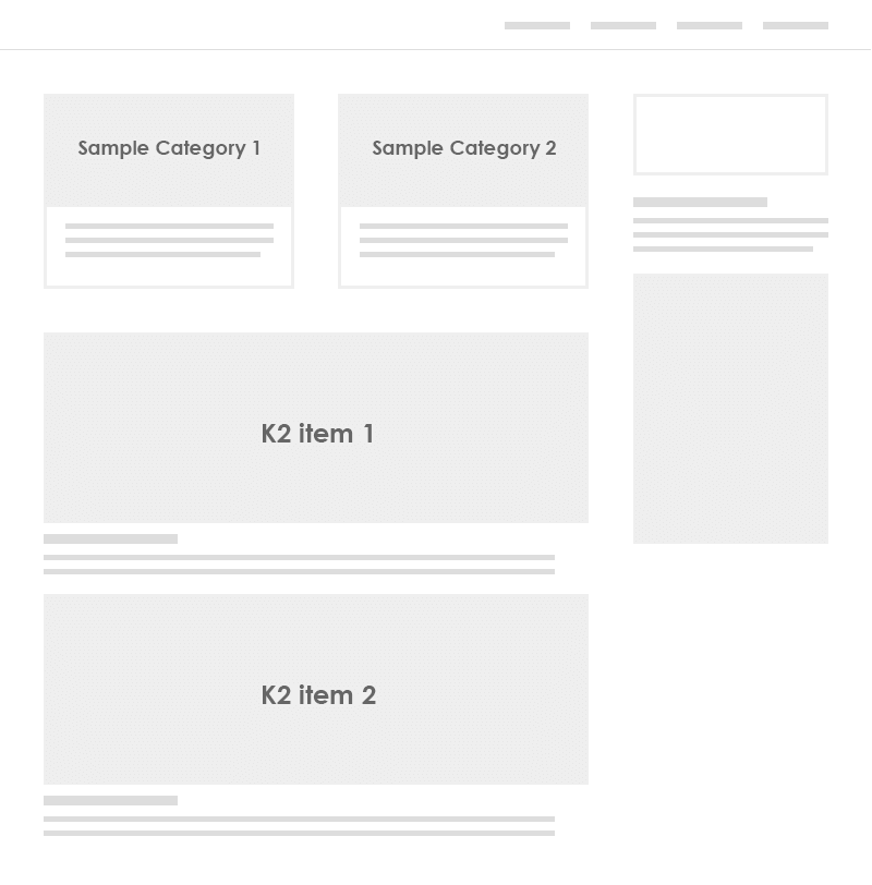 K2 All categories front-end