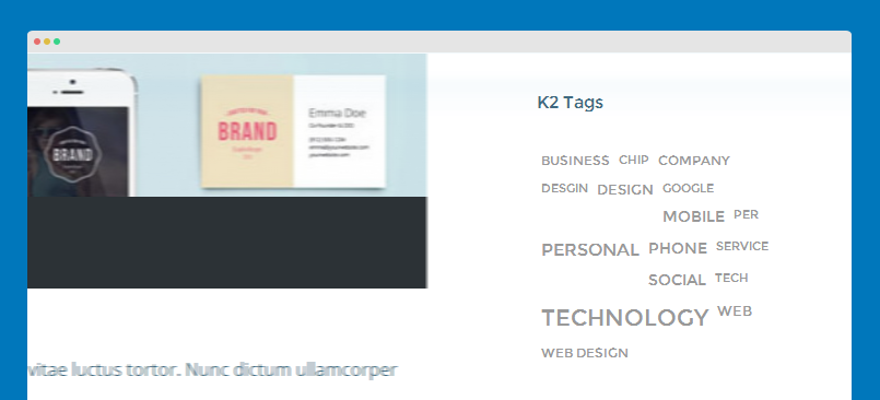 K2 tags module front-end