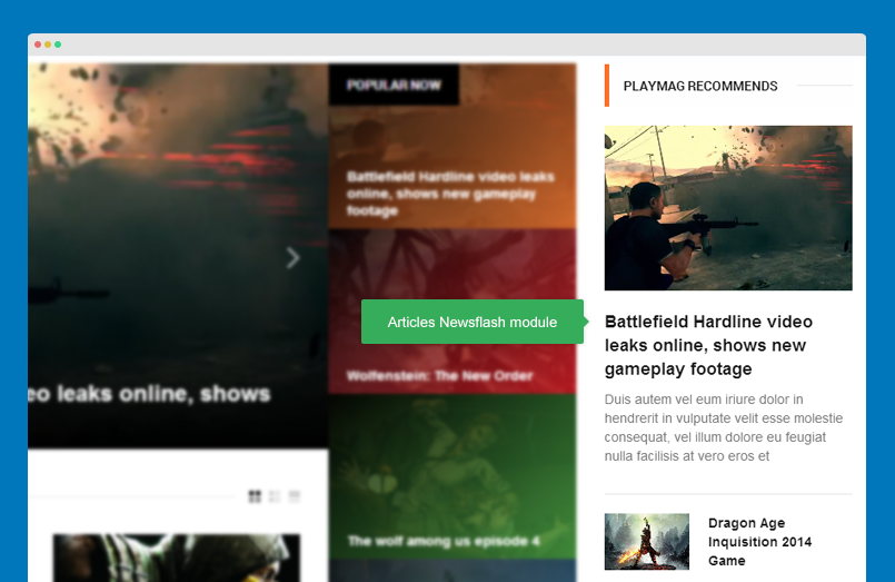 Articles Newsflash module front-end