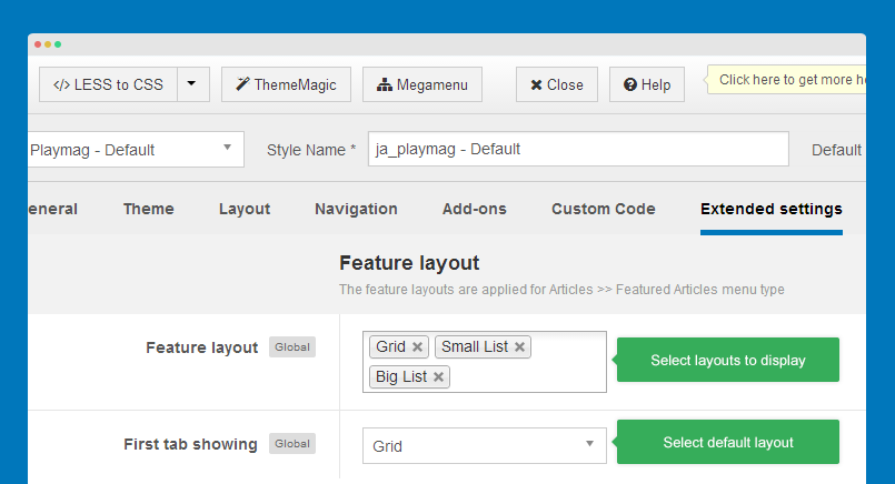 configure feature layouts