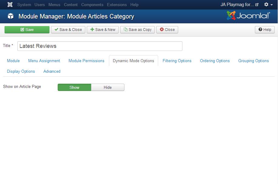 Joomla extension configuration of JA Playmag template | Joomla ...