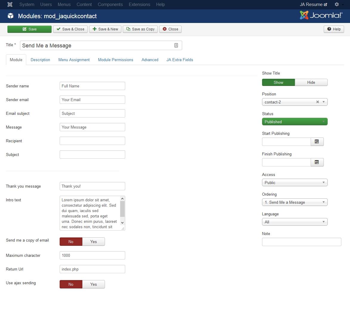 JA Resume documentation | Joomla Templates and Extensions Provider