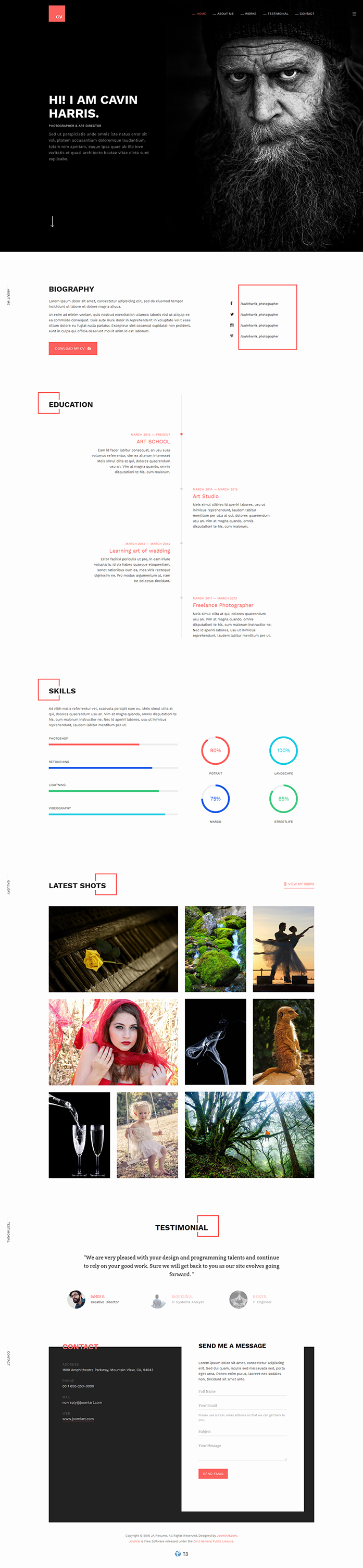 Preview Ja Resume  Responsive Joomla Template For Resume