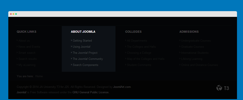 About Joomla menu module