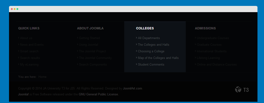 Colleges menu module