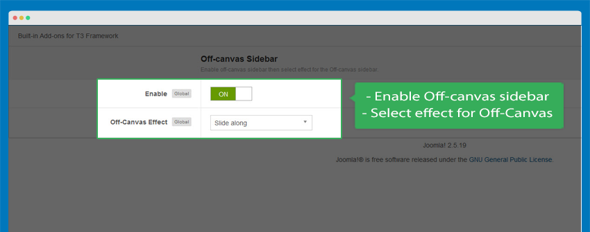 Enable Off-canvas option