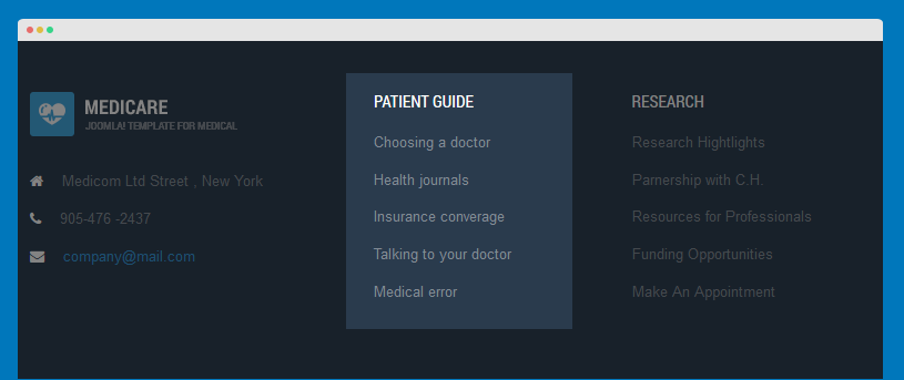 Patient guide menu module