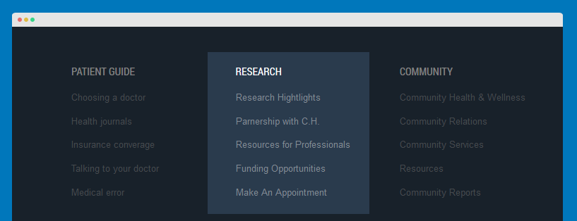 Research menu module