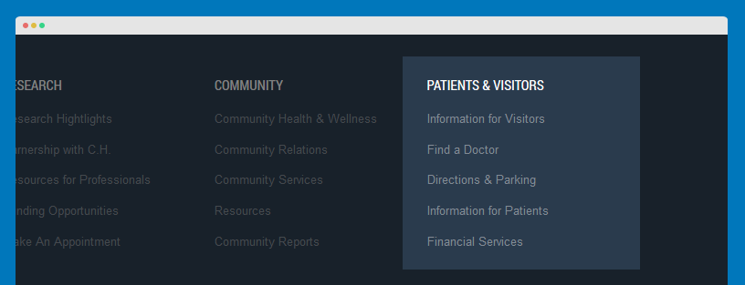 Patients & Visitors menu module