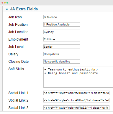 add value for extra fields
