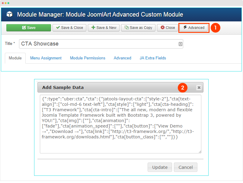 Ja acm module configuration joomla templates and for Joomla templates with sample data