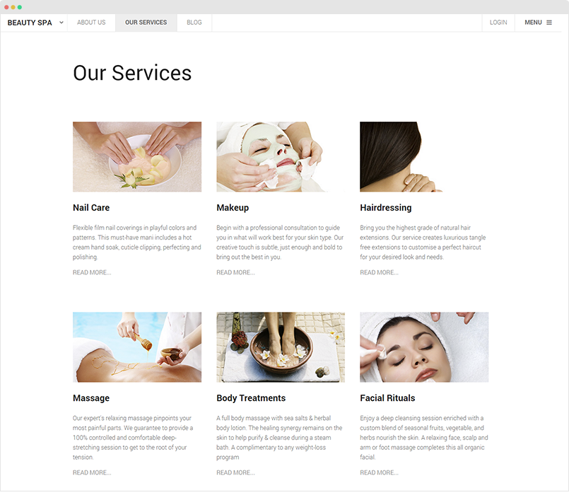 Spa Our Services menu