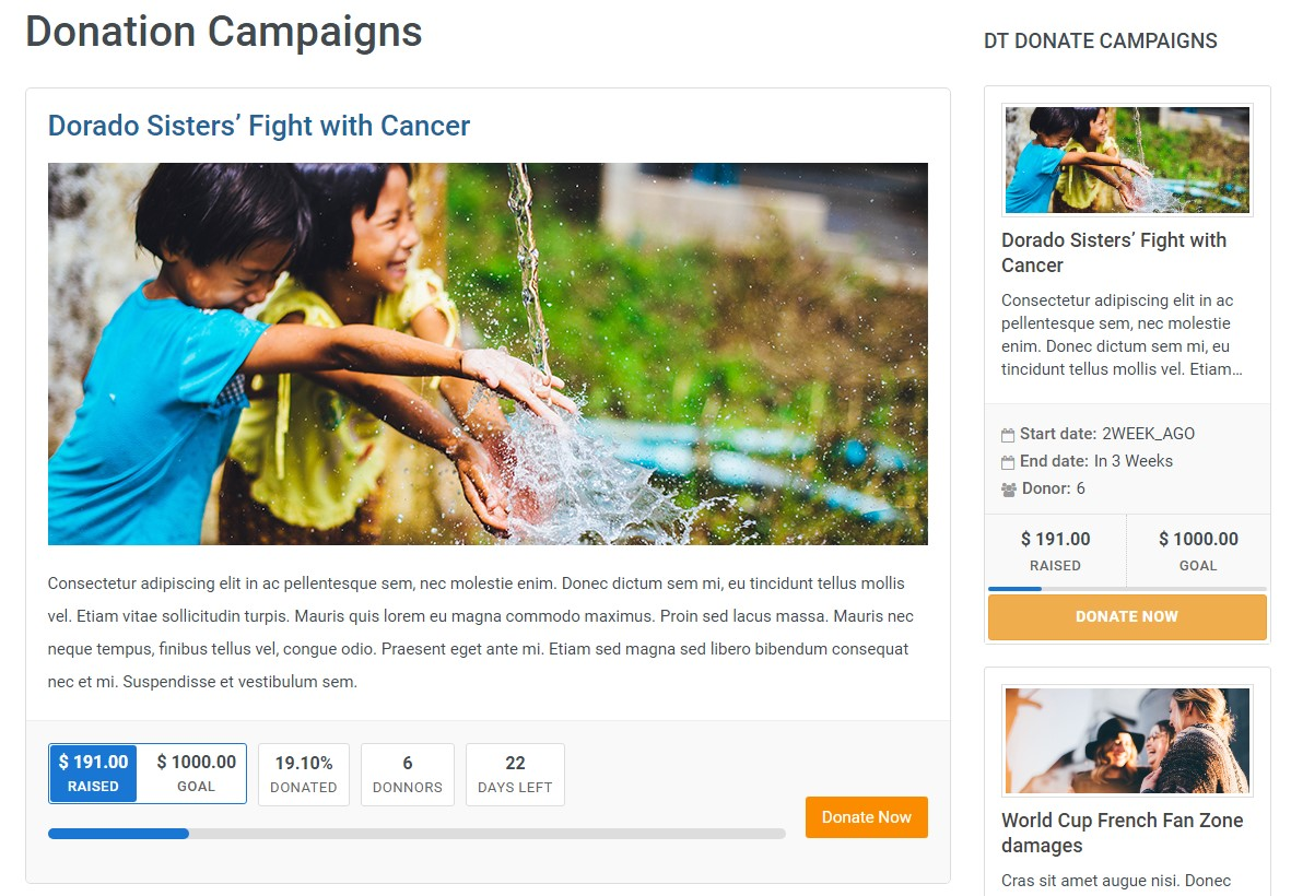 dth donate campaign page