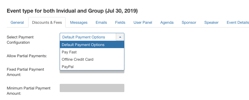 assign payment method for event