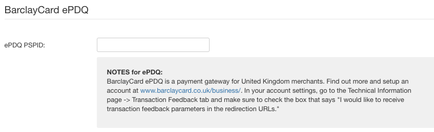 BarclayCard ePDQ payment method settings