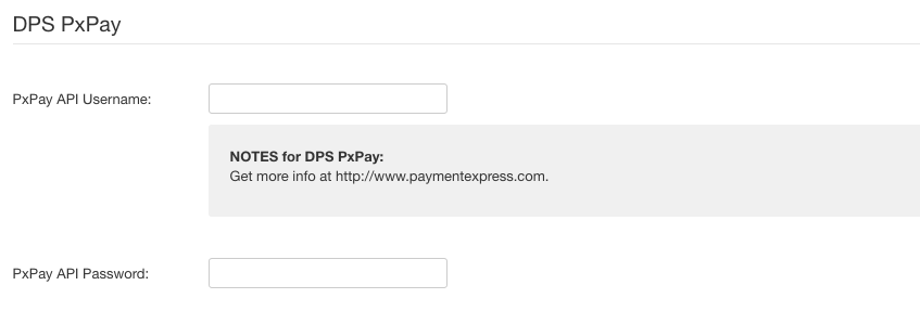 DPS PxPay payment method settings