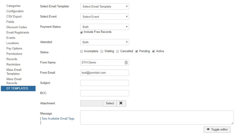 email setting in dt register