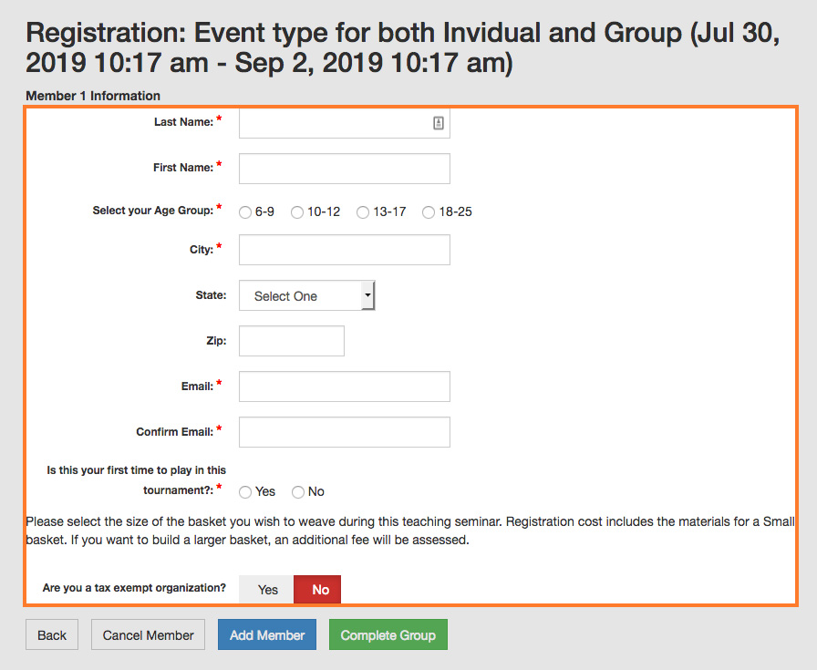 events fields in event registration form