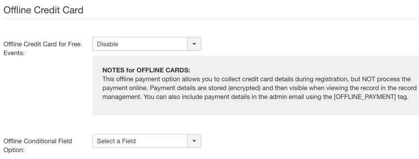 Offline Credit Card payment method settings