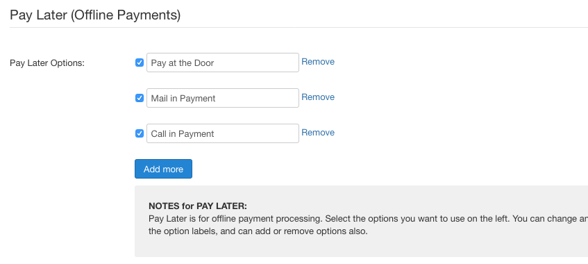 Pay Later payment method settings