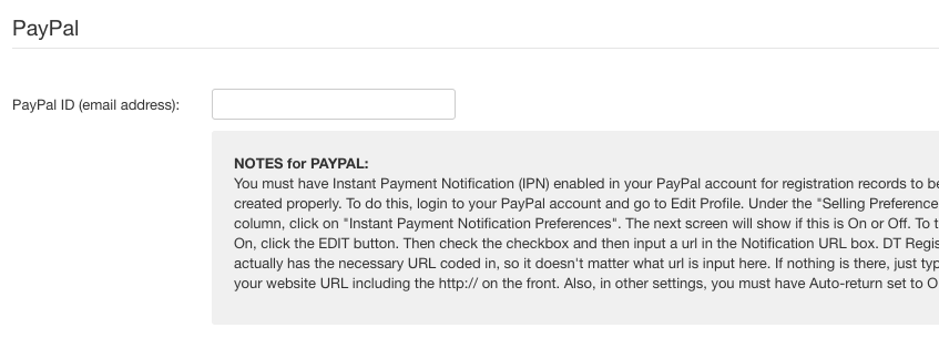 Paypal payment method settings