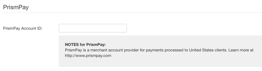 PrismPay payment method settings
