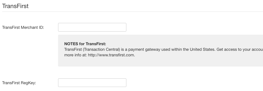 TransFirst payment method settings