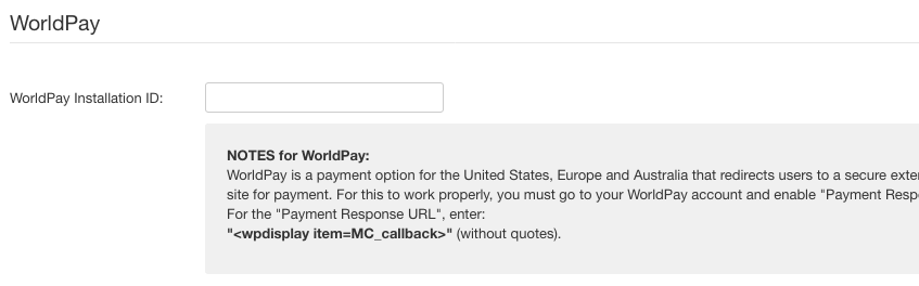 WorldPay payment method settings
