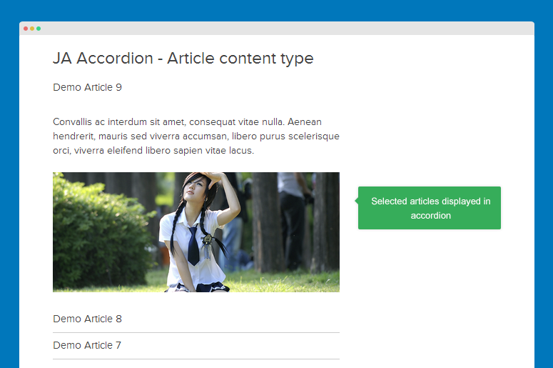 Articles displayed in accordion