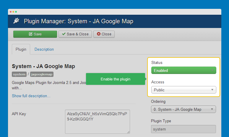 Enable JA Google map plugin