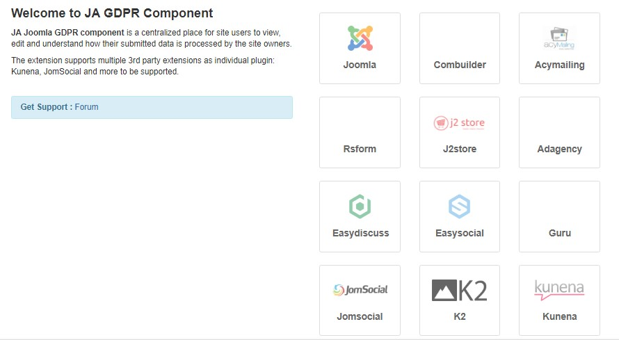 ja joomla gdpr options