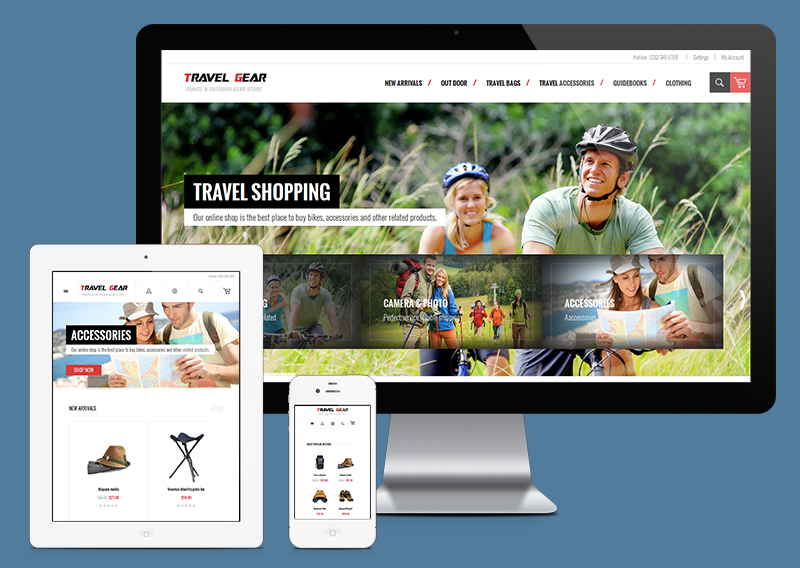 TravelGear responsive web design