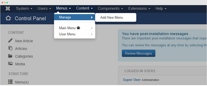 add new joomla menu