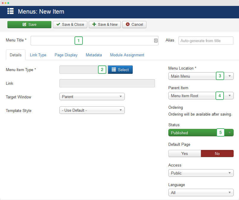 joomla menu item setting
