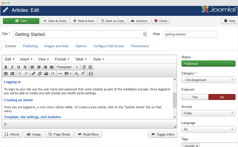 joomla article edit page