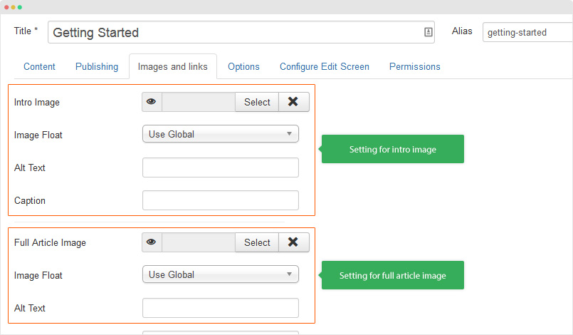 add image for joomla article