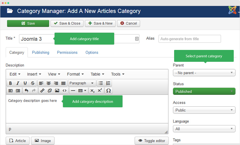 joomla category setting