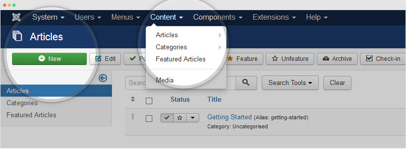 create joomla article
