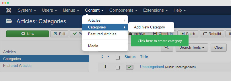 create joomla category
