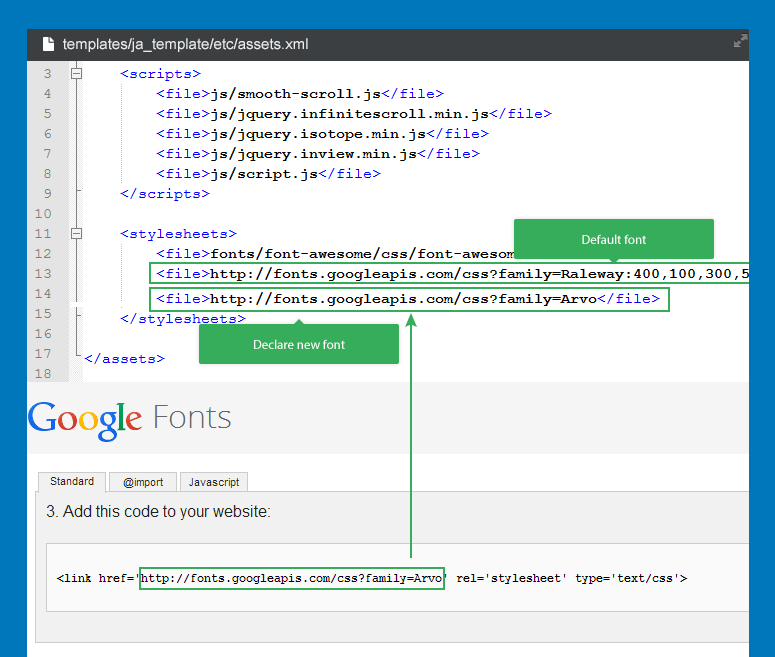 how to embed web fonts and google fonts for joomla template joomla