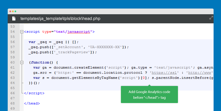 Add google analytics via head.php