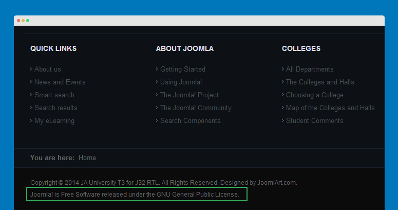 remove/change joomla copyright info