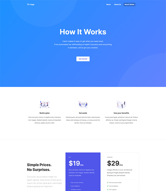 App intro Joomla template work page - App