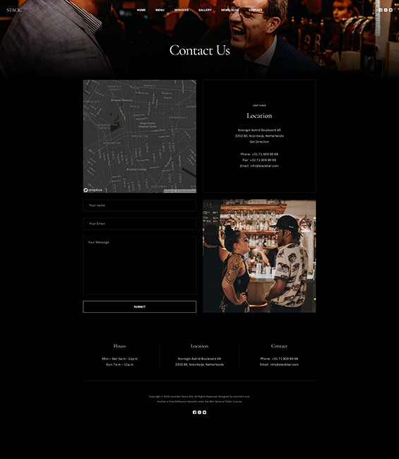 Bar and Pub contact page Joomla template - T4 Bar