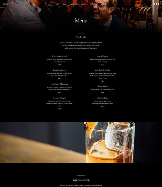 Bar and Pub menu Joomla template - T4 Bar