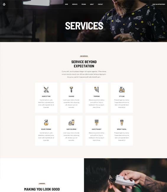 Barber services Joomla template