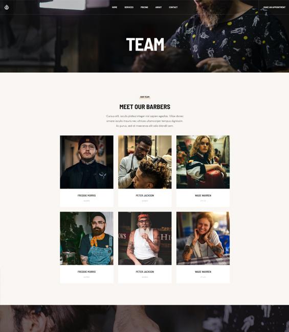 Barber salon team page Joomla template
